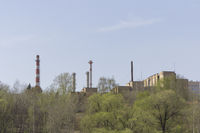 Petrochemical plant with on the sky background