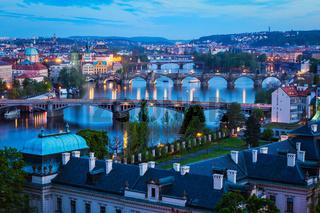 Evening view of Prague bridges over Vltava river