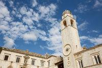 Clock tower on the Stradun in Old Town Dubrovnik, Croatia