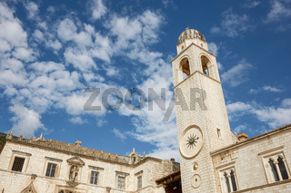 Clock tower on the Stradun in Old Town Dubrovnik, Croatia