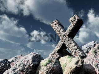 steinrune unter wolkenhimmel - 3d illustration