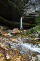 Upper Pericnik waterfall in Slovenian Alps in autumn, Triglav National Park