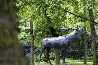 Hirsch, roehrender Hirsch als Skulptur, Duesseldorf