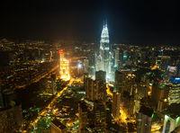 Aerial View Kuala Lumpur city skyline in night