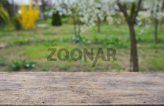 Empty wooden deck table