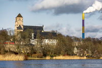 Castle pond with castle church and castle of Chemnitz