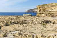 Rugged coastline of island of Gozo
