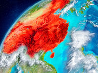 Space view of China in red