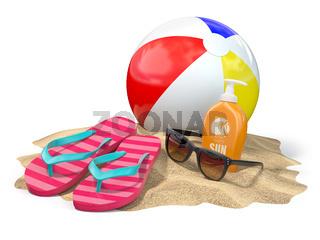 Beach accessories for relaxing. Sunscreen bottle, flip flops, sunglasses and ball onthe sand.