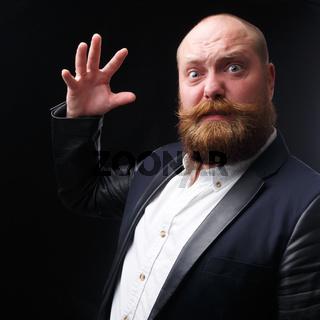 Angry man waved hand on