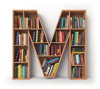 Letter M. Alphabet in the form of shelves with books isolated on white.