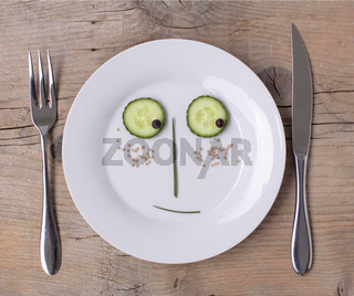 Vegetable Face on Plate - Male, Shy
