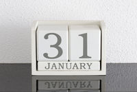 White block calendar present date 31 and month January