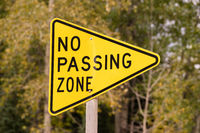 Yellow Triangle Road Sign Warning No Passing Zone