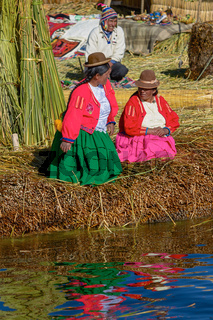Family Living at Floating Islands of Uros at Lake Titicaca in Peru and Bolivia