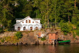 The water pumping station and the house. Karelia Valaam Island.