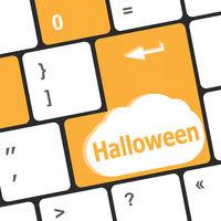 Computer keyboard key with key Halloween, closeup