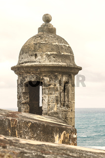 Sentry box overlooking the Atlantic Ocean at 'El Morro' (Castillo San Felipe del Morro) San Juan, Puerto Rico