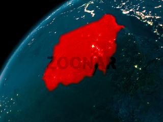 Sudan at night on Earth