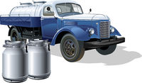Vector retro delivery milk tanker truck