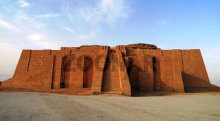 Restored ziggurat in ancient Ur, sumerian temple, Iraq