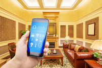 mobile phone with modern living room