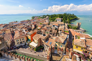 View to the Roofs of Sirmione and from Scaliger castle