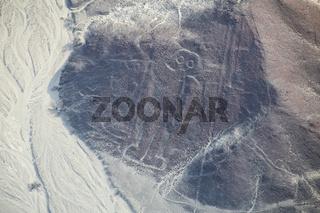 Aerial view of Nazca Lines - Astronaut geoglyph, Peru.