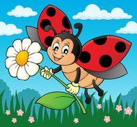 Ladybug holding flower theme image 2