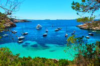 Sailboats at Cala Salada lagoon. Ibiza, Spain