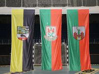 Flaggen in GETEC Arena Magdeburg Handball-Punktspiel SC Magdeburg-Frisch Auf Göppingingen 22.2.18