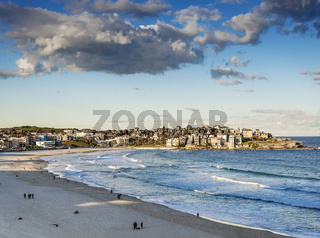 bondi beach view at sunset dusk near sydney australia
