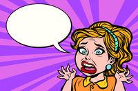 Woman shock and panic