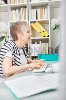 Frau arbeitet konzentriert  am Computer