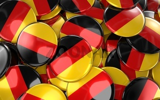 Germany Badges Background - Pile of German Flag Buttons.