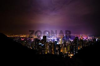 Night view over Hong Kong