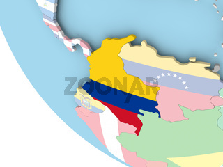 Colombia with flag on globe