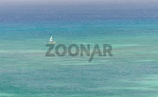 Sail yachts in a blue caribbean sea