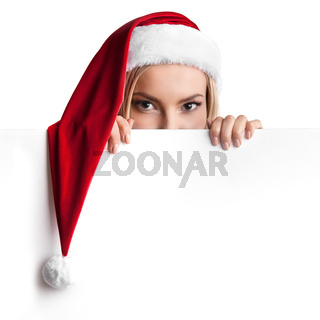 Christmas woman holding blank banner