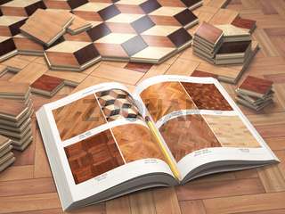 Few types of wooden parquet coating and catalog. Stack ofr parquet wooden planks.