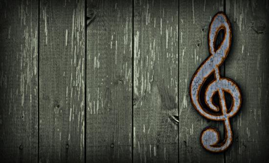 rostiger notenschlüssel auf bretterwand - 3d illustration