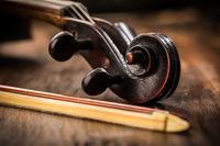 Violin in vintage style on wood background