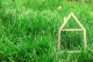 Model house made on green grass