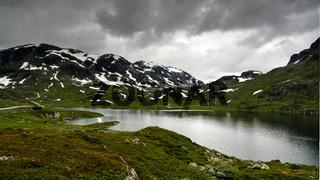 Panoramic view to Hardangervidda plateau and Votna lake at Norway