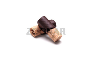 rolled waffle pastry with dark chocolate coating