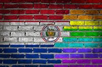 Brick wall texture - Flag of Paraguay with rainbow flag