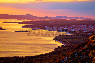 Adriatic town of Pakostane aerial sunset view