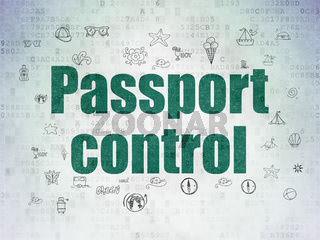 Vacation concept: Passport Control on Digital Data Paper background