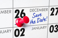 Wall calendar with a red pin - December 26