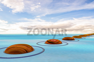 Stones in the water, 3D illustration